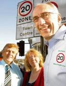 Slow down – Rod King of the 20's Plenty campaign in the town with borough councillors Julie Young and Dave Harris