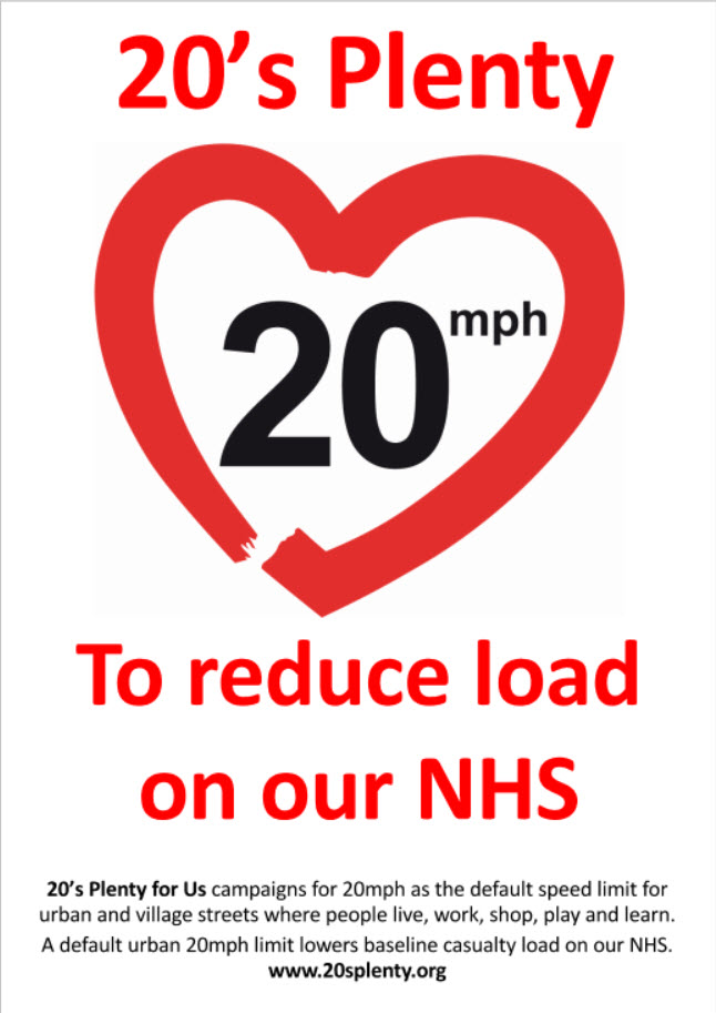 Our new 20's Plenty for the NHS sticker