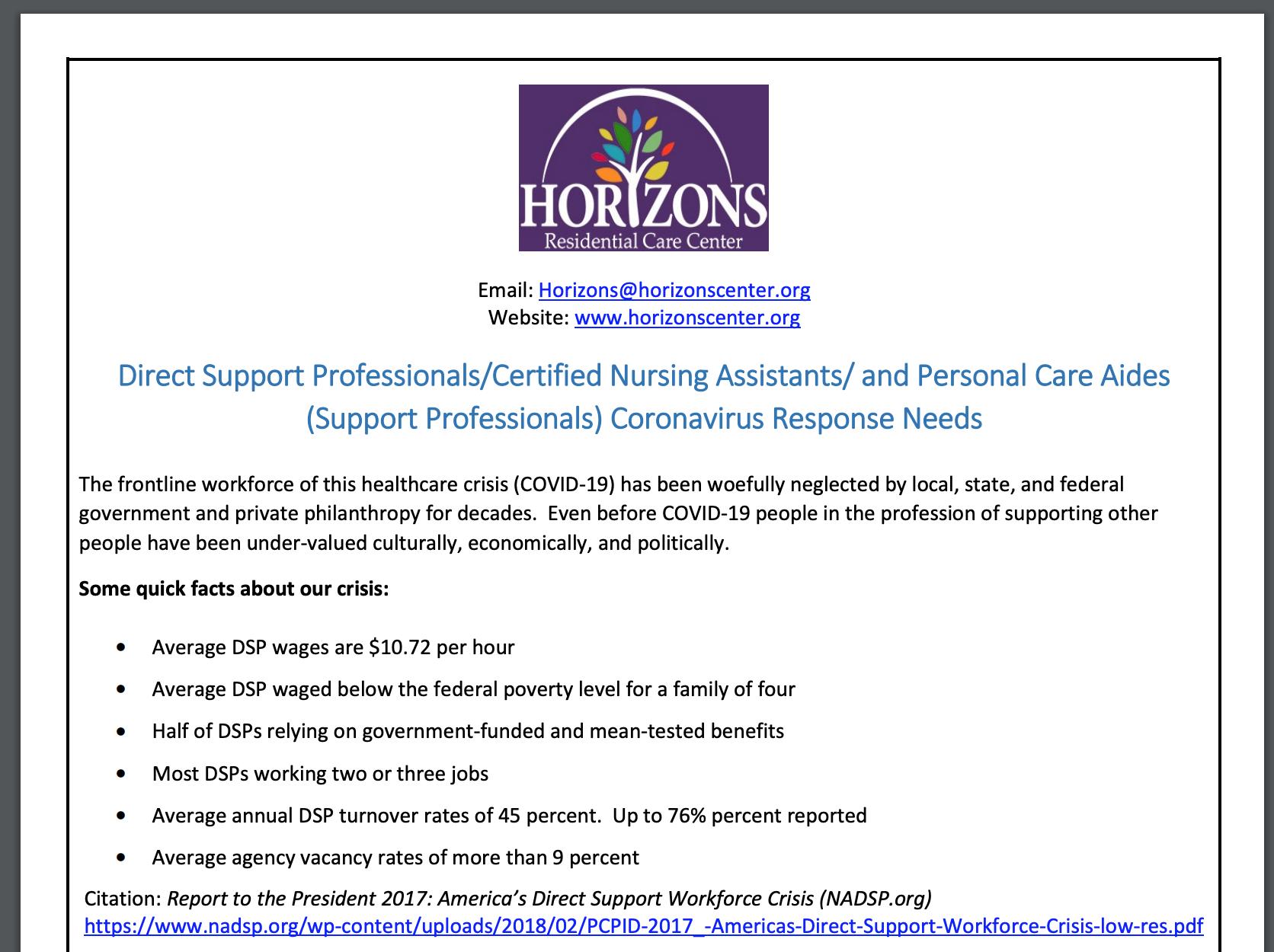 direct support professionals coronavirus response needs