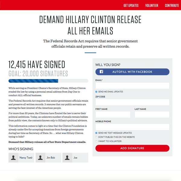State GOP Petition Page
