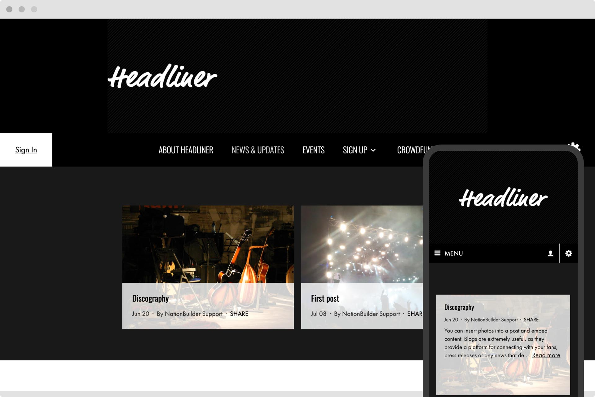 Headliner theme