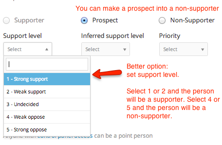 change prospect into non-supporter on profile
