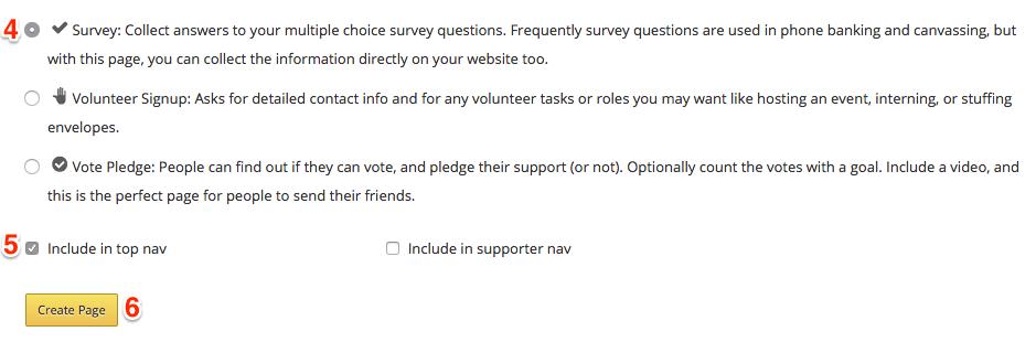create a survey in nationbuilder