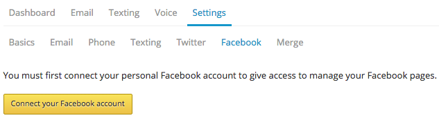 Facebook settings connect acct