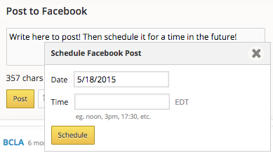Facebook post and schedule