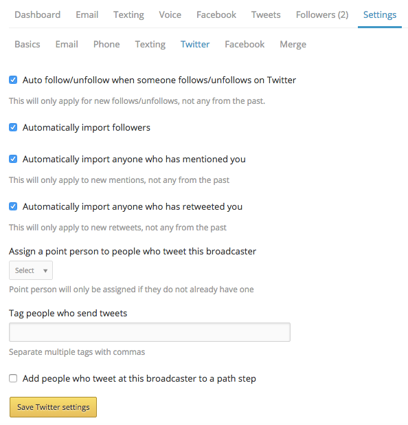 Twitter settings after connected