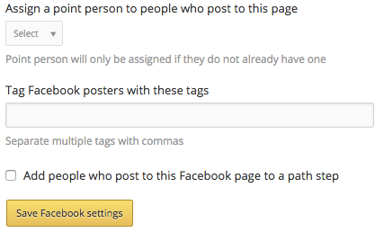 Facebook settings after connected