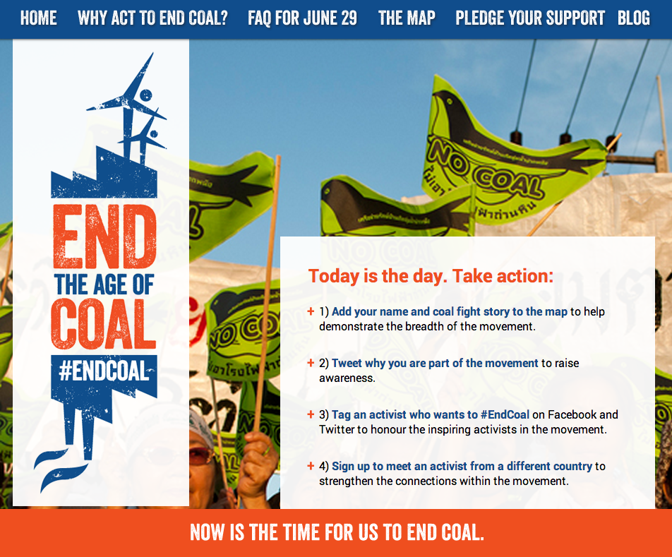 homepage of End the Age of Coal