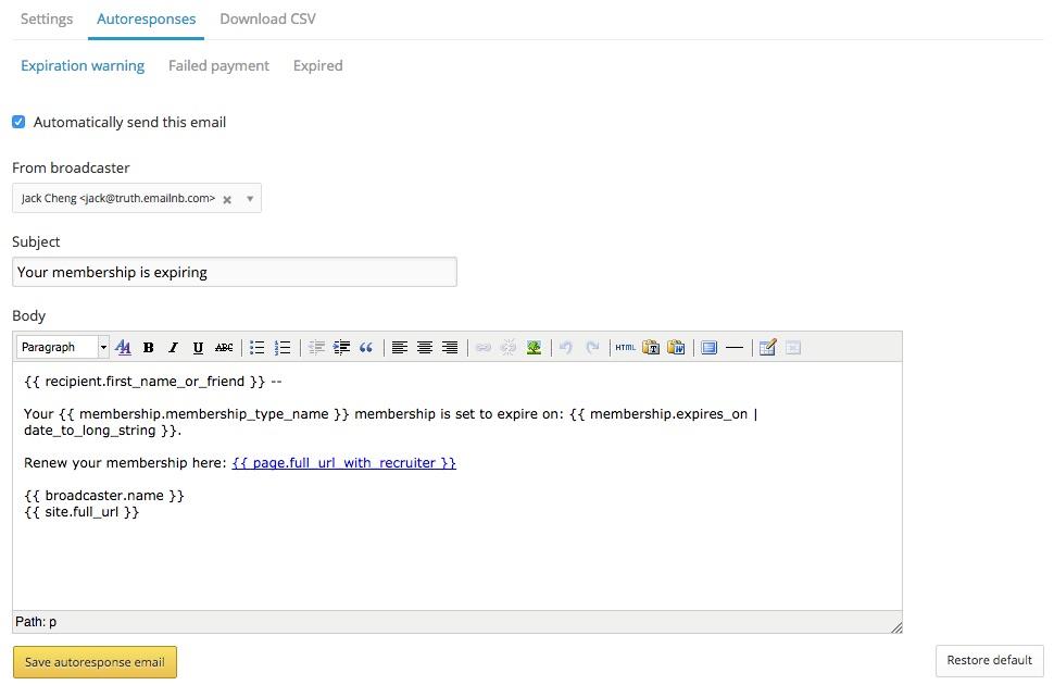 autoresponse email warning that membership is expiring