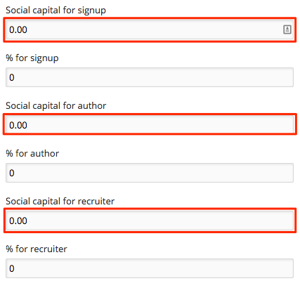 Social capital set value settings
