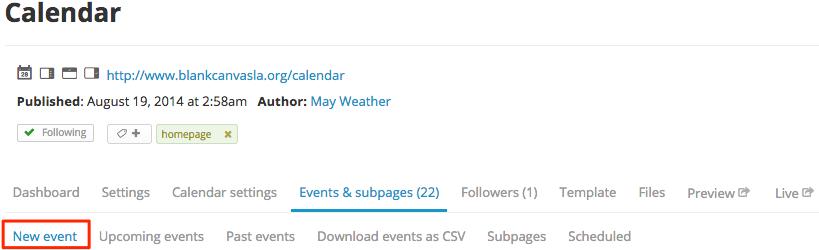 Calendar subnav