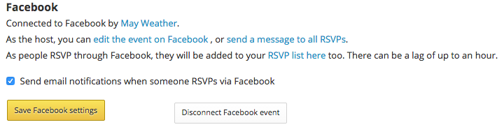 Event after connected to Facebook