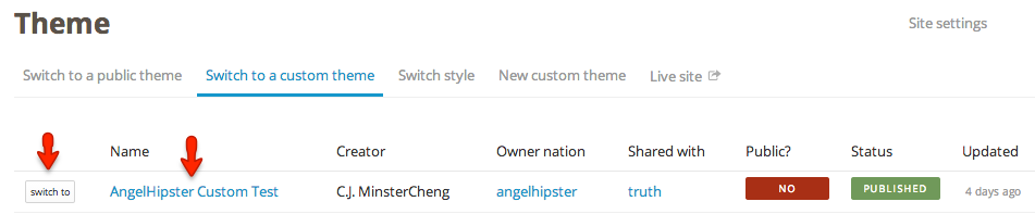 switch to a shared theme in NationBuilder