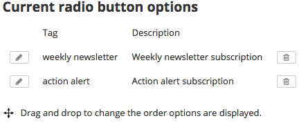 Current radio button options