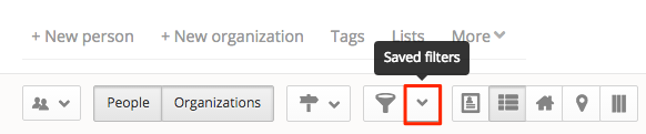 filter drop-down menu in People section