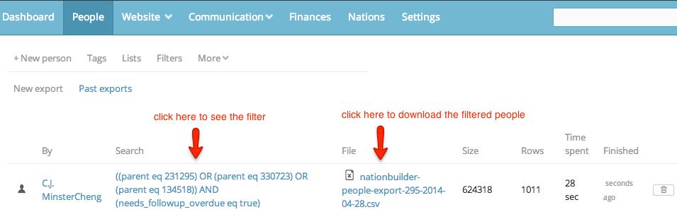export a filter