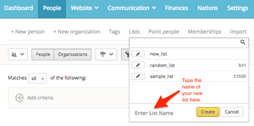 create a list in nationbuilder