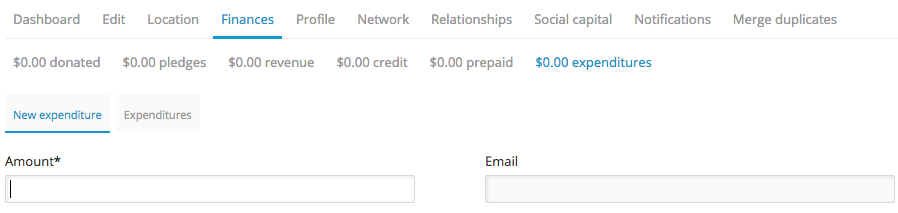 You can create a new expenditure from a profile