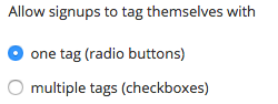 Allow signups to tag themselves with