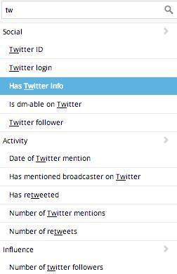 Twitter info as filter criteria
