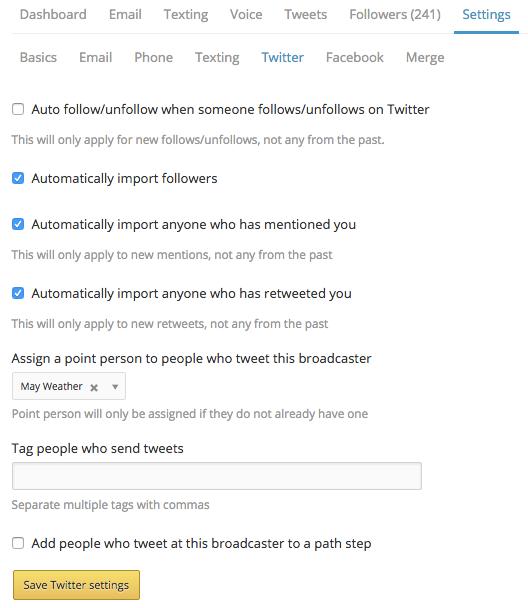 Broadcaster Twitter settings