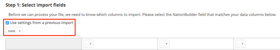 choose previous import settings