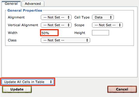 Edit cell properties insert