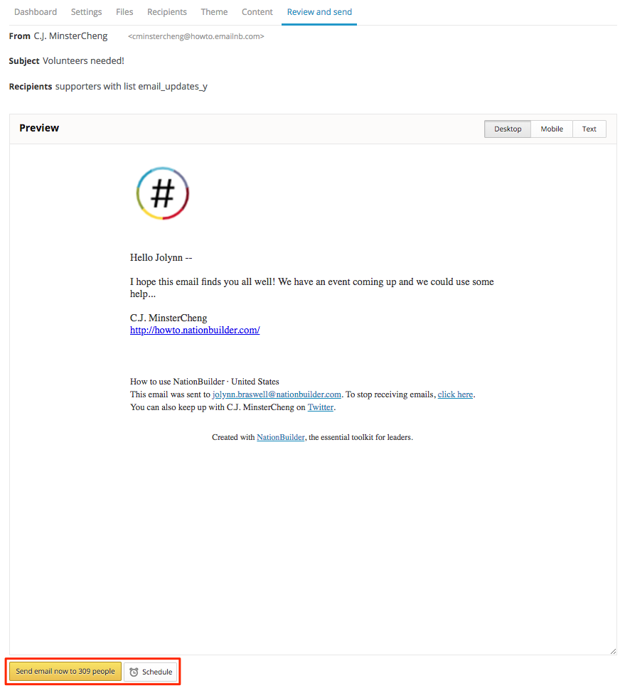 How To Create An Email Blast In Nationbuilder