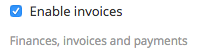 Enable invoices