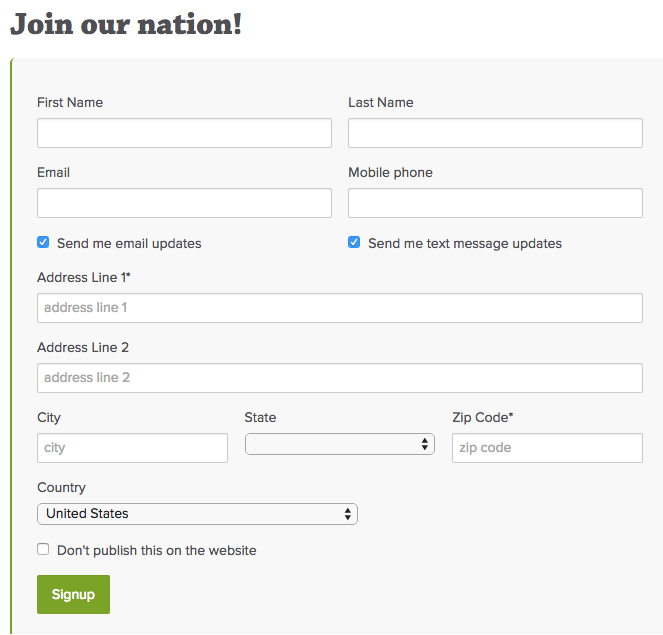 how requesting inidividual address fields displays in a signup form