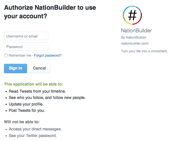 Twitter Authorize an application