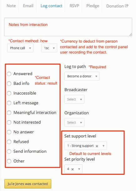 log contact in NationBuilder