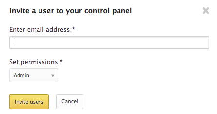 invite user to control panel