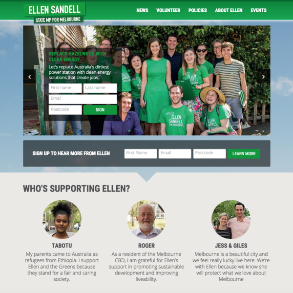 Ellen Sandell, Victorian Greens
