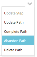 abandon path from caron menu