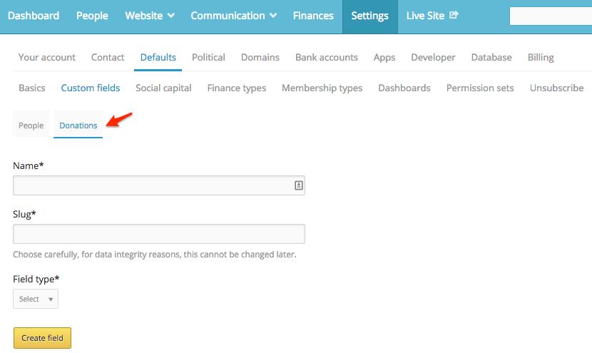 create custom donation fields