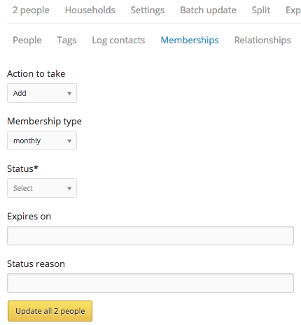 batch update memberships form