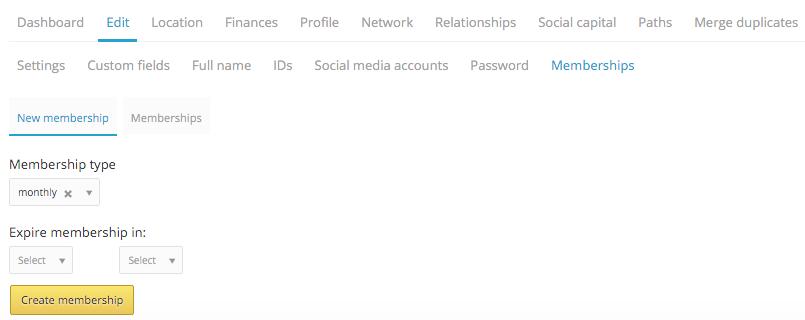 memberships in profile