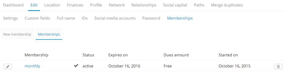 edit memberships in a profile