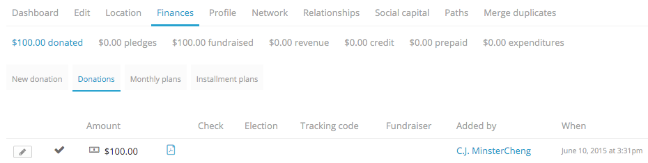 finances section of a profile