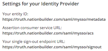 NationBuilder entity ID, ACS, and SSO URLs