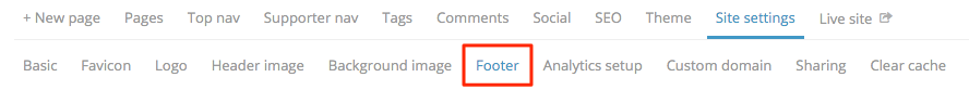 Settings footer