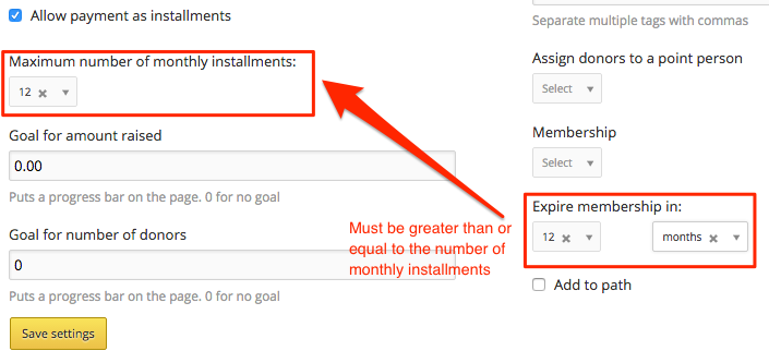 correct membership expiration with nstallment payments
