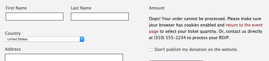 single page donation error