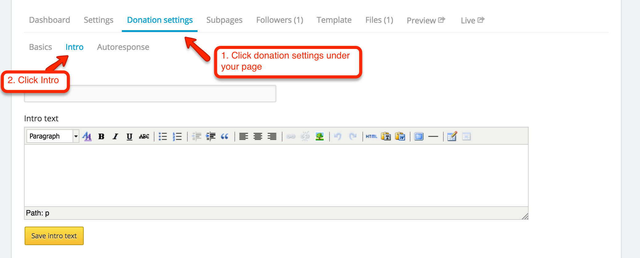 How do I add text in the donate page - Josh Harnack\'s suggestion