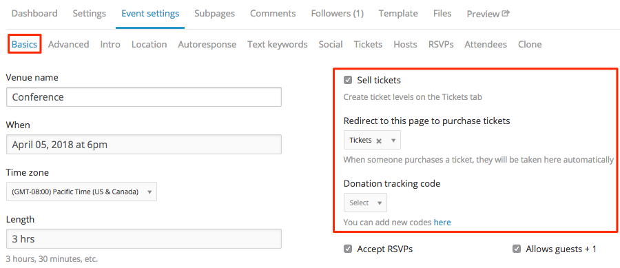 youll need to choose a page to use to purchase the tickets from your current donation andor invoice pages you can also select a tracking code