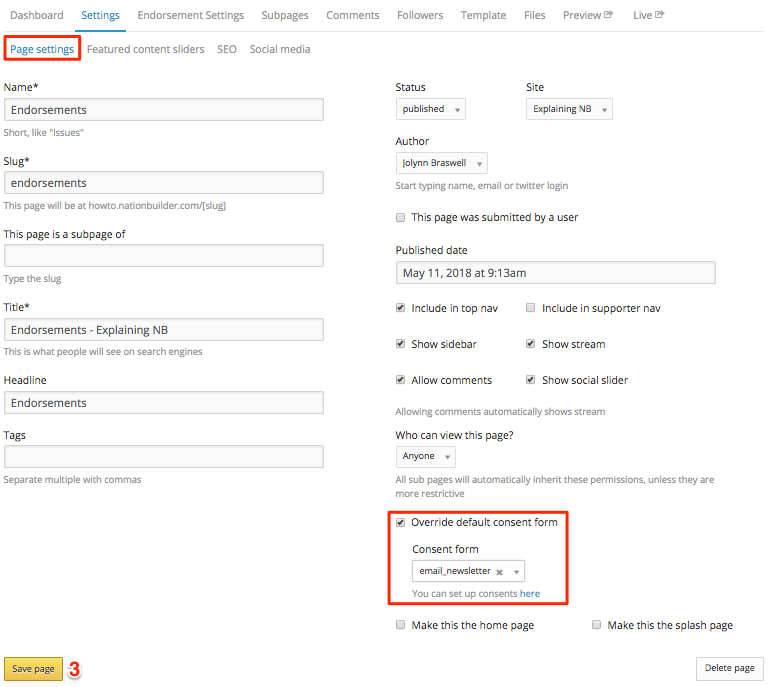 Added the ability to add consent forms to action pages and removed ...