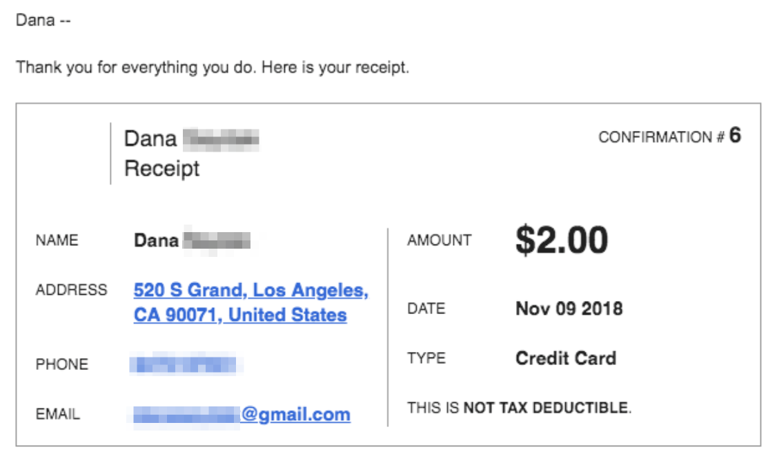 updated default donation page autoresponse and receipt text