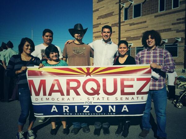 Aaron Marquez and volunteers at the Gaudalupe Veteran's Day parade