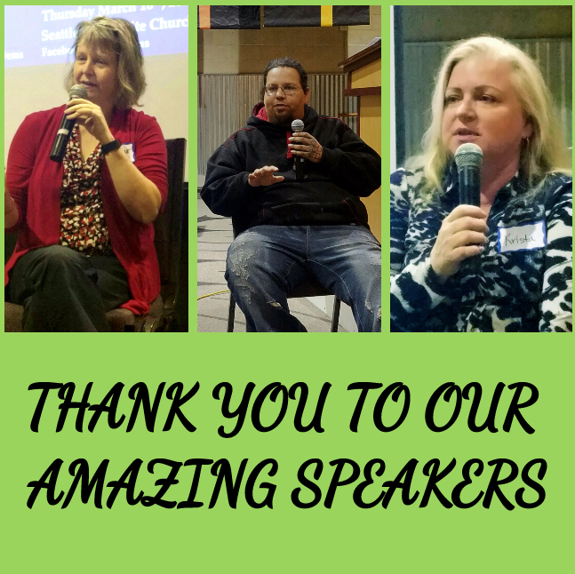 Thank you to speakers from March meeting.